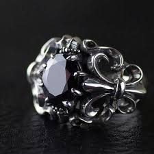 sterling silver ring bracelet images Japan gothic jewelry flower anchor black diamond gothic style jpg