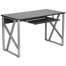 roll out computer desk amazon com flash furniture black computer desk with pull out