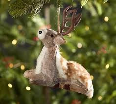 oversized wood bark deer ornament pottery barn