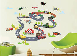 car rail racing wall art decal sticker kids room nursery mural material pvc size theme car racing pack one piece wall decal