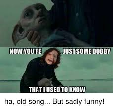 Funny Meme Songs - nowyoure just some dobby that iused to know ha old song but sadly