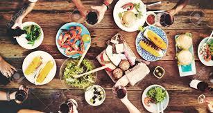 cuisine concept food table delicious meal prepare cuisine concept stock photo