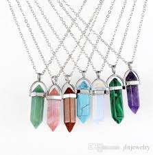 crystal quartz stone necklace images Wholesale jln hexagonal gemstone pendant crystal quartz amethyst jpg