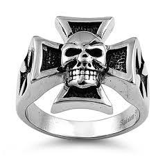 steel iron cross skull ring
