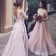 pink wedding dress discount arabic 2017 blush pink colored wedding dress a line v