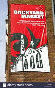 banner on backyard market the old truman brewery brick lane stock