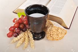 communion bible bread wine and bible for sacrament or communion stock photo
