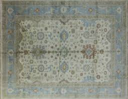 12 X 15 Area Rug Ivory Blue 12 X15 Oushak Knotted Wool