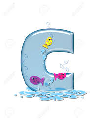 the letter c in the alphabet set fish flop is aqua in color