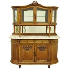 french louis xvi style marble top sideboard or curio cabinet