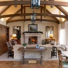 wood beams on ceiling living room rustic with wide plank vaulted