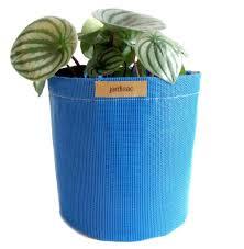 round plant pot blue 9 in geotextile jardisac