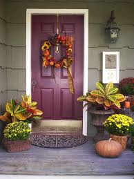 rustic front door decorations with light bulbs and hanging garland