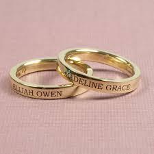 gold mothers rings 3mm engraved 14k gold flat wedding band złote obrączki ślubne z