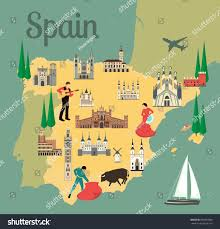 Toledo Spain Map by Spain Travel Map Sights Flat Style Stock Vector 693837868