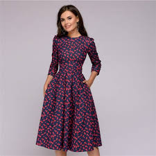 Womens Dresses New Arrival 2018 Fall Casual Printing Party Dress