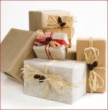 eco friendly wrapping paper brown paper mixed with silky white paper all wrapped with twine