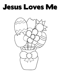 easter egg and flowers in jesus love me coloring page color luna