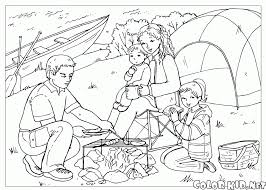 coloring page children at the lake