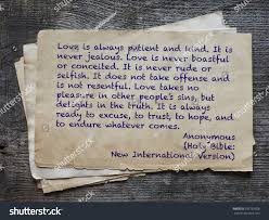 Love Is Not Selfish Quote by Love Always Patient Kind Never Jealous Stock Photo 335725928