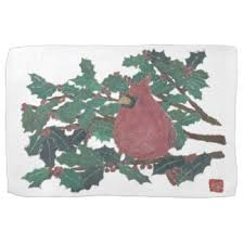 christmas cardinal kitchen towels zazzle