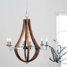 Chandeliers Overstock Vineyard Wood And Chrome 6 Light Chandelier Free Shipping Today