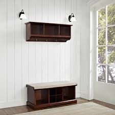brennan mahogany two piece entryway bench and shelf set crosley
