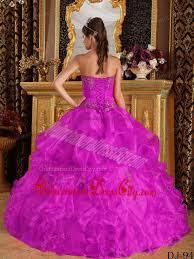 fuchsia ball gown strapless floor length appliques organza