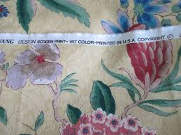 vintage jay yang floral screen print damask unused remnant fabric