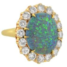 opal engagement rings vintage 3 carat black opal diamond cluster ring for sale at 1stdibs