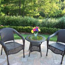 oakland living resin wicker patio bistro set with glass top table