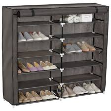 amazon com woltu 7 tiers 2 rows portable shoe rack with dustproof
