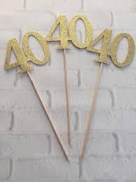 40 centerpiece picks glitter forty on a stick 40th birthday