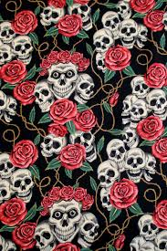 fabric the rose tattoo skulls and roses black and tea