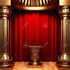 Velvet Curtains Red Velvet Curtains Gold Columns And Pedestal Stock Photo