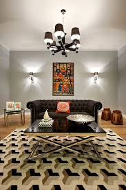 furniture luxury living room with black tufed sofa and black