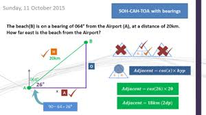 trigonometry with bearings soh cah toa complete lesson with