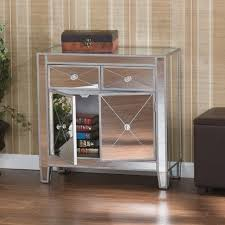 simple bedroom with double doors console mirrored buffet table
