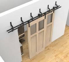 How To Make A Barn Door Track Single Track Bypass Sliding Barn Door Hardware Kit Lets 2 Doors