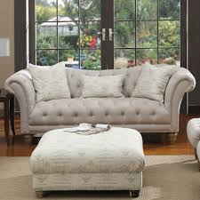 emerald hutton fabric upholstery series linen look nailhead sofa w