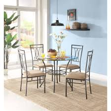 Round Kitchen Table And Chairs Walmart by Mainstays 5 Piece Glass And Metal Dining Set 42