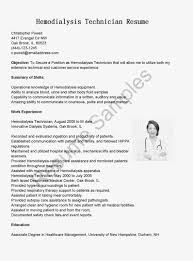 Hemodialysis Technician Jobs Hemodialysis Technician Resume Sample Xpertresumes Com