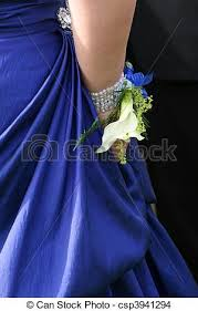royal blue corsage lilly corsage and bracelets against a royal blue dress stock photo