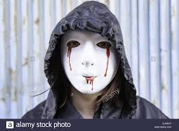 halloween woman mask violent woman with bloody mask halloween stock photo royalty
