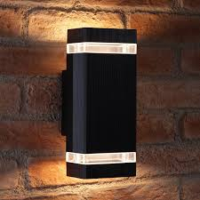 outdoor double wall light auraglow large outdoor double up down wall light chilton black