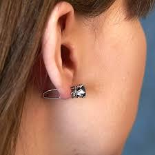 ear pin earrings sterling silver safety pin earrings by dose of