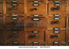 Library Catalog Cabinet Open Archive Drawer Wooden File Catalog Stock Photo 683295262