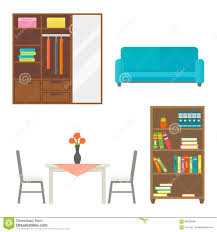 Library Office by Furniture Home Decor Icon Set Indoor Cabinet Interior Room Library