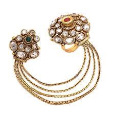 finger chain rings images Buy geode delight gold plated kundan double finger ring for women jpg