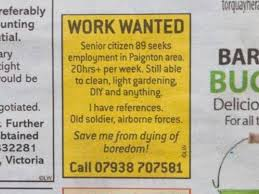 Seeking Dies Of Boredom 89 Year Posts Advert In Local Paper To Stop Him Dying Of